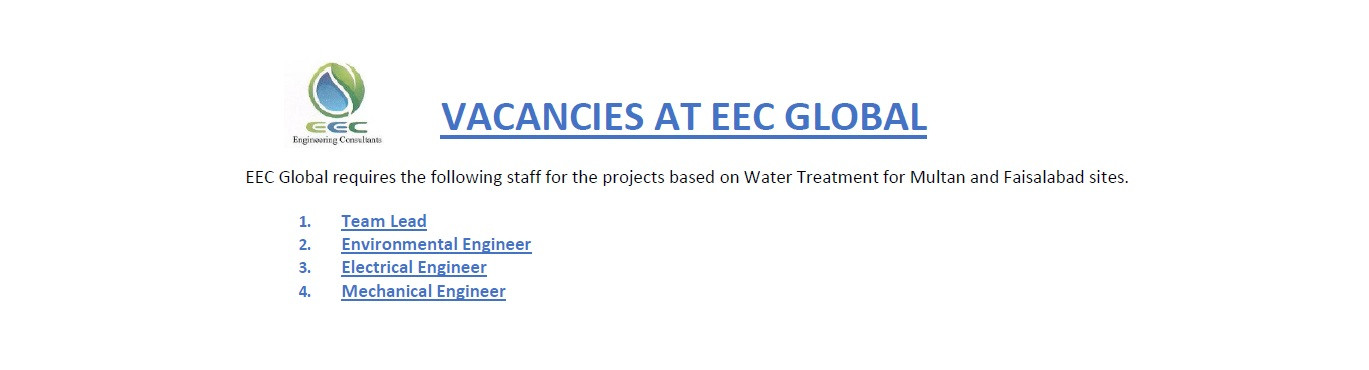 Vacancies available for EEC Global (Pvt.) Ltd. for Water Treatment based projects